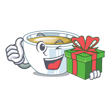 With gift ginger tea in the cartoon shape vector illustration