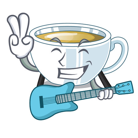 With guitar ginger tea in the cartoon shape vector illustration Illustration