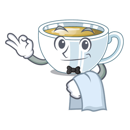 Waiter ginger tea in the cartoon shape vector illustration Illustration