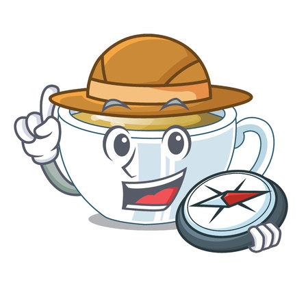 Explorer ginger tea in the cartoon shape vector illustration