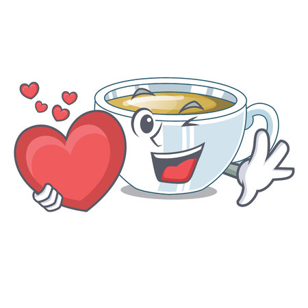 With heart ginger tea in the cartoon shape vector illustration