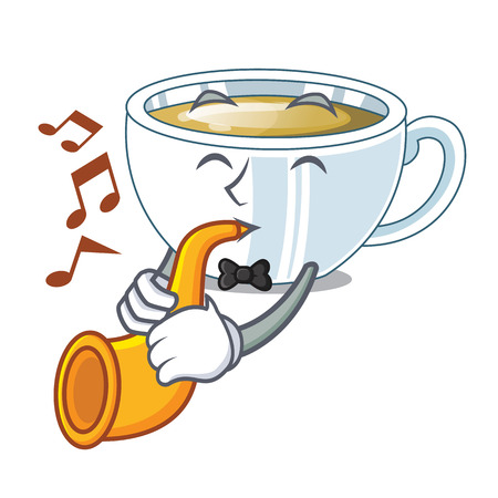 With trumpet ginger tea in the cartoon shape vector illustration