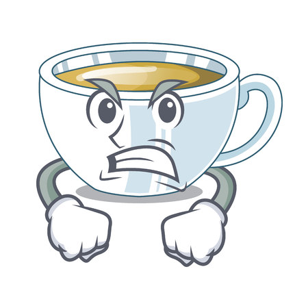 Angry ginger tea in the cartoon shape vector illustration Illustration