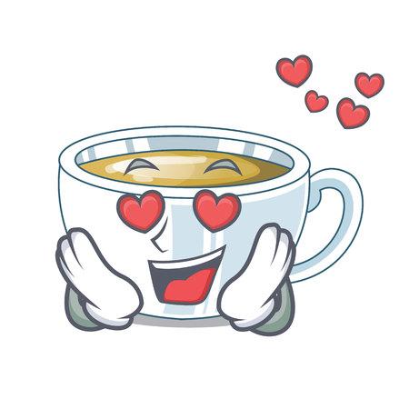 In love ginger tea in the cartoon shape vector illustration Illustration