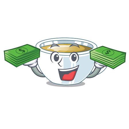 With money bag ginger tea in the cartoon shape vector illustration Illustration