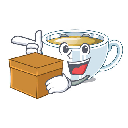 With box ginger tea above character wooden table vector illustration Illustration