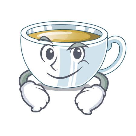 Smirking ginger tea above character wooden table vector illustration