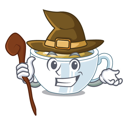 Witch ginger tea in the cartoon shape vector illustration