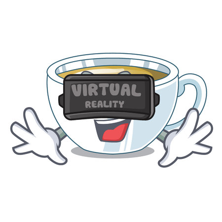 Virtual reality ginger tea in the cartoon shape vector illustration