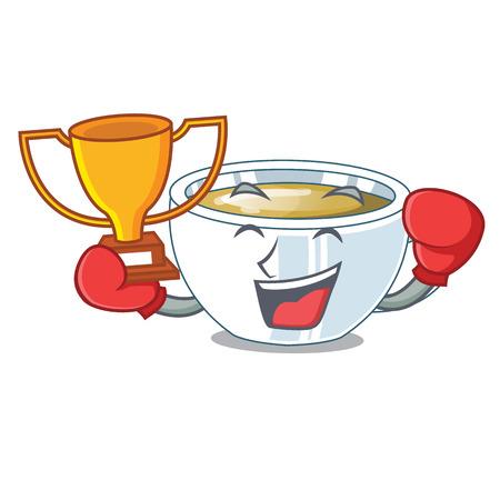 Boxing winner ginger tea in a cartoon bottle vector illustration Illustration