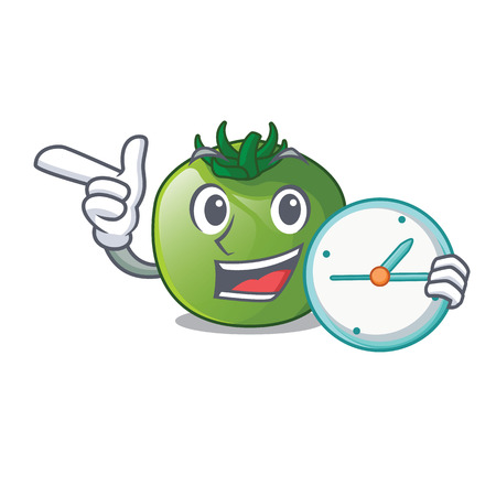 With clock green tomato with the isolated cartoons vector illustration Ilustração