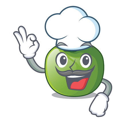 Chef green tomato with the isolated cartoons vector illustration