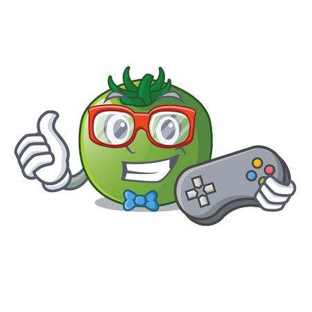Gamer green tomato obove the character table vector illustration
