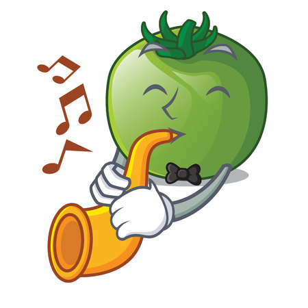 With trumpet green tomato obove the character table vector illustration