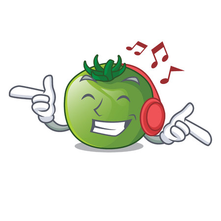 Listening music green tomato obove the character table vector illustration