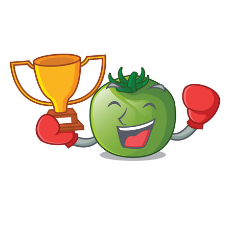 Boxing winner green tomato in shape of mascot vector ilustration