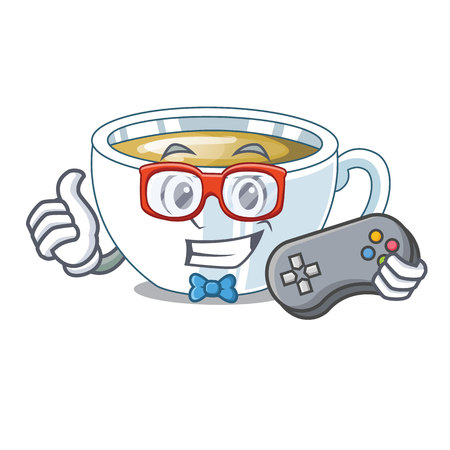 Gamer ginger tea in the cartoon shape vector illustration Illustration