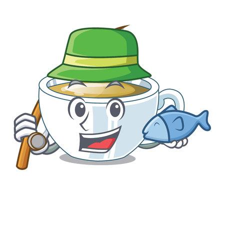 Fishing ginger tea in the cartoon shape vector illustration Illustration