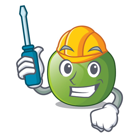 Automotive green tomato in shape of mascot