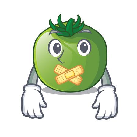 Silent green tomato in shape of mascot