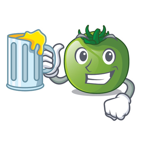 With juice green tomato obove the character table vector illustration