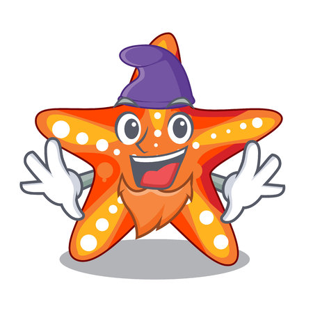 Elf starfish beside the in character beach vector illustration 矢量图像
