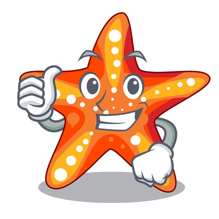 Thumbs up starfish in the cartoon shape funny 矢量图像
