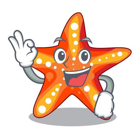 Okay starfish in the cartoon shape funny  イラスト・ベクター素材