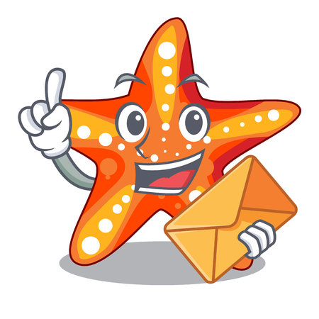 With envelope starfish in the cartoon shape funny
