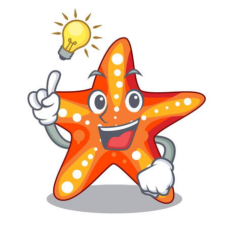 Have an idea underwater sea in the starfish mascot vector illustration