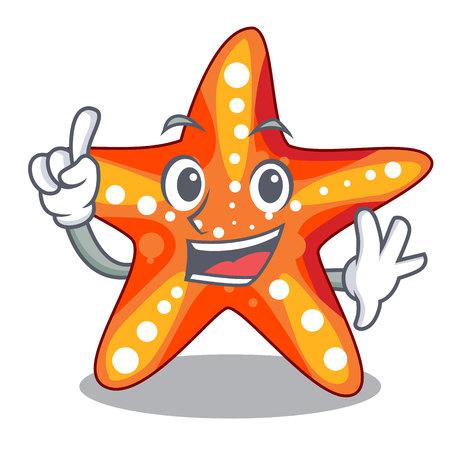 Dedo mar bajo el agua en la ilustración de vector de mascota estrella de mar