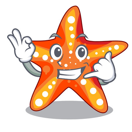 Call me underwater sea in the starfish mascot vector illustration  イラスト・ベクター素材