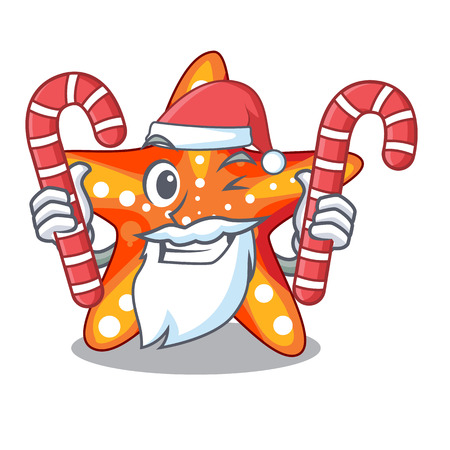Santa with candy underwater sea in the starfish mascot vector illustration