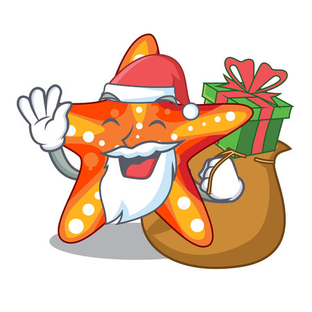 Santa with gift underwater sea in the starfish mascot vector illustration  イラスト・ベクター素材