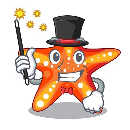 Magician underwater sea in the starfish mascot vector illustration  イラスト・ベクター素材