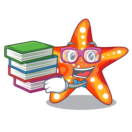 Student with book underwater sea in the starfish mascot vector illustration