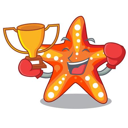 Boxing winner underwater sea in the starfish mascot vector illustration  イラスト・ベクター素材