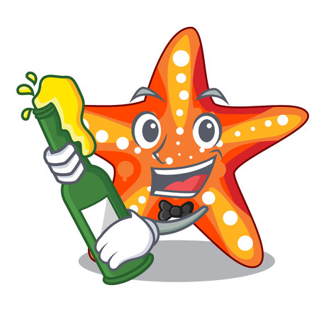 With beer underwater sea in the starfish mascot vector illustration