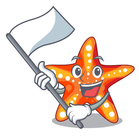 With flag underwater sea in the starfish mascot vector illustration