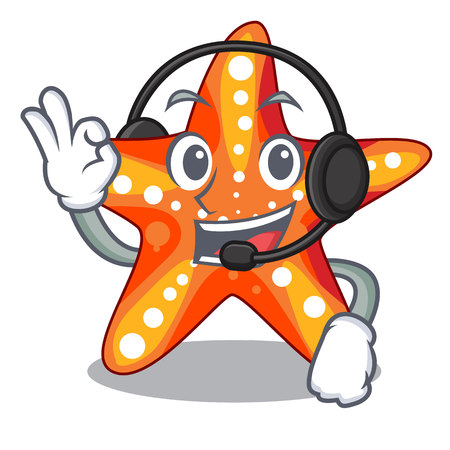 With headphone underwater sea in the starfish mascot vector illustration  イラスト・ベクター素材