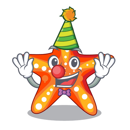 Clown underwater sea in the starfish mascot vector illustration