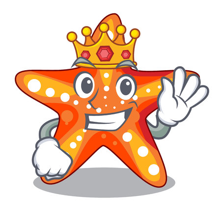 King underwater sea in the starfish mascot vector illustration