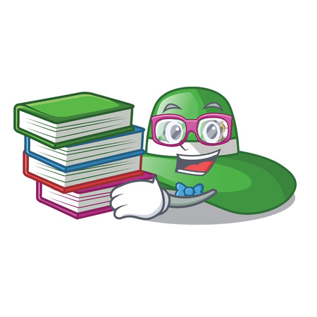 Student with book beach hat in the mascot closet vector illustration