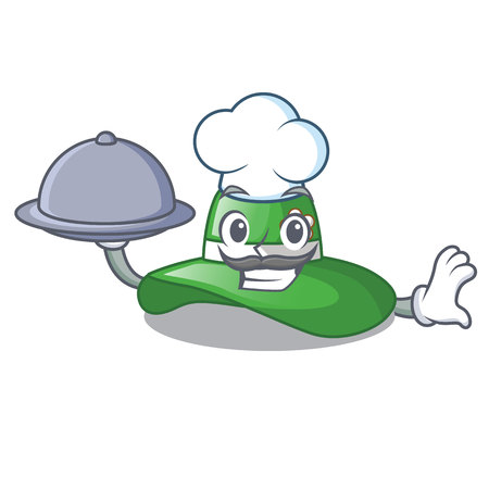 Chef with food beach hat isolated in the with cartoons vector illustration