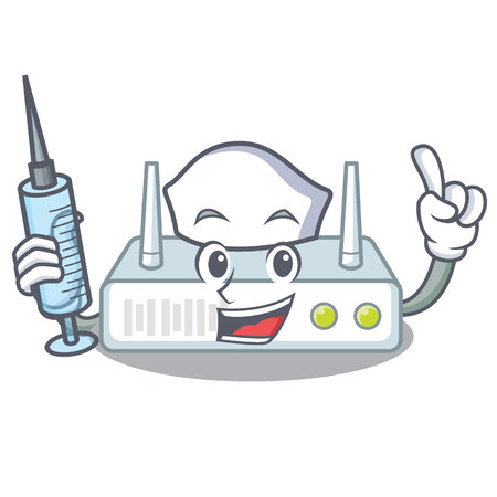Nurse router is installed in cartoon wall
