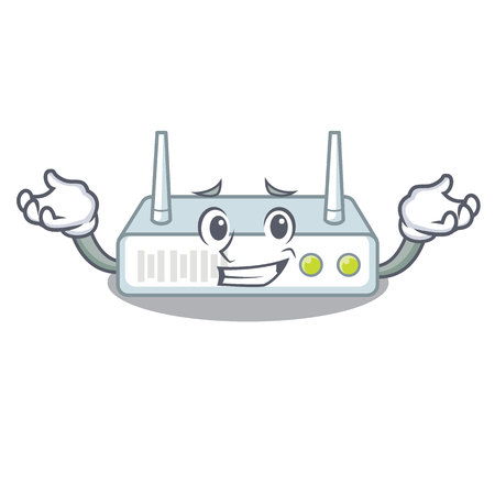 Grinning router is installed in cartoon wall Illustration