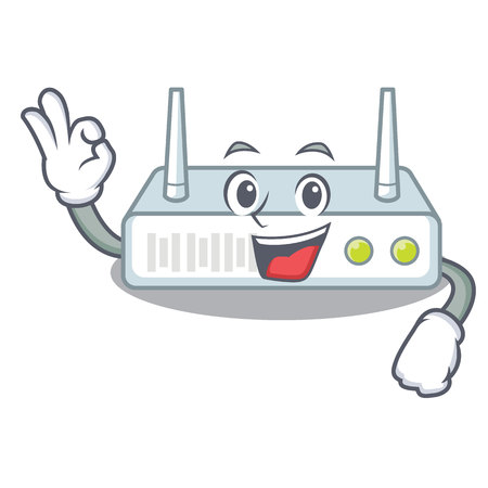 Okay router is installed in cartoon wall Illustration
