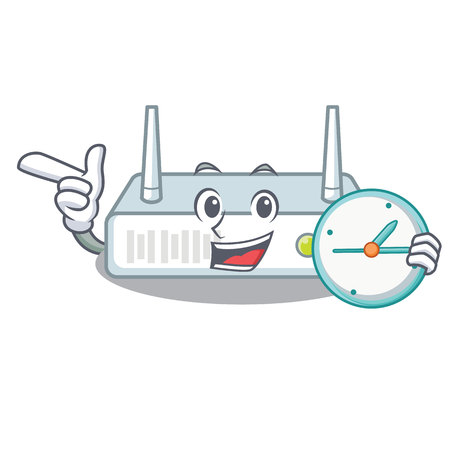 With clock router is installed in cartoon wall