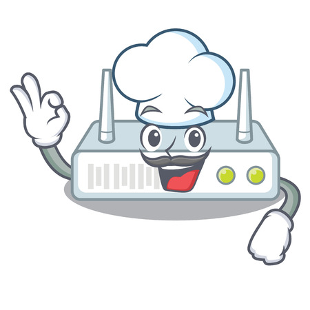 Chef router is installed in cartoon wall