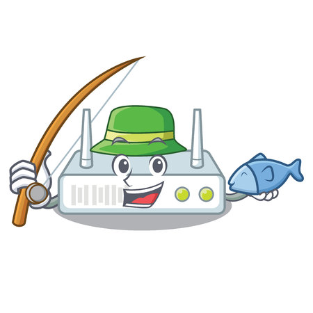 Fishing router isolated with in the mascot Vecteurs